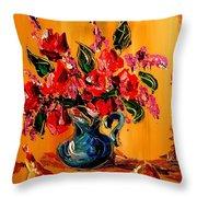 Flowers Modern Abstract Fine Art Canvas Throw Pillow