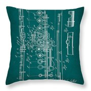 Flute Patent Drawing 2f Throw Pillow