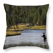 Fly Fishing In The Firehole River Yellowstone Throw Pillow