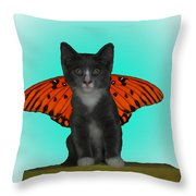 Flying Kitty Throw Pillow