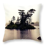 Fog Setting In On The Lake Throw Pillow
