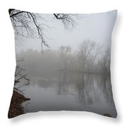 Foggy River  Throw Pillow