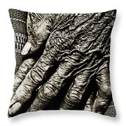 Old Hands Throw Pillow