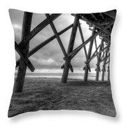 Folly Beach Pier Black And White Throw Pillow