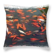 Koi Pond With Framing Throw Pillow