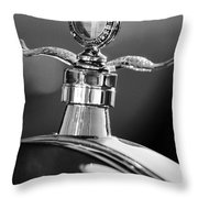 Ford Winged Hood Ornament Black And White Throw Pillow