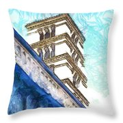 Foreshortening With Bell Tower Throw Pillow