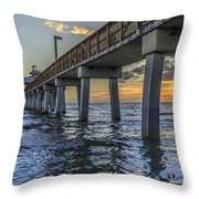 Fort Myers Beach Fishing Pier Throw Pillow by Edward Fielding