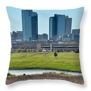 Fort Worth Panorama Throw Pillow