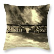 Fort Worth Stockyards District Archway Throw Pillow