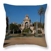 Fountain In A Park, Parc De La Throw Pillow