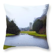 Fountains Abbey Lake Throw Pillow