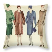 Four Flappers Modelling French Designer Outfits, 1928  Throw Pillow