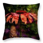 Fragmented Echinacea Throw Pillow