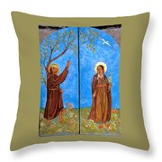 Francis And Claire Triptych Throw Pillow