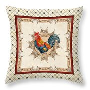 French Country Roosters Quartet Cream 2 Throw Pillow
