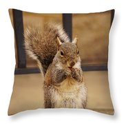 French Fry Eating Squirrel Throw Pillow
