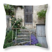 French Staircase With Flowers Throw Pillow
