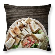 Fresh Crab Seafood Cream Mousse With Toast Tapas Snack Throw Pillow
