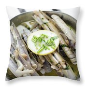 Fresh Razor Shell Seafood Steamed In Garlic Herb Wine Sauce Throw Pillow