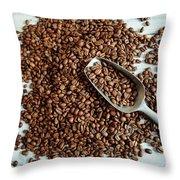 Fresh Roasted Coffe Beans Throw Pillow