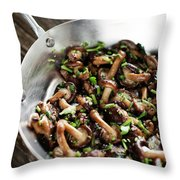 Fried Shiitake Mushrooms In Garlic Herb And Olive Oil Snack Throw Pillow