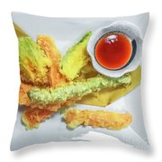 Fried Shrimps Tempura Throw Pillow