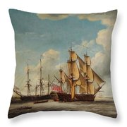 Frigates Receiving Their Captains Throw Pillow