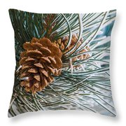 Frosty Pine Needles And Pine Cones Throw Pillow