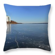 Frozen Crack In The Ice  Throw Pillow