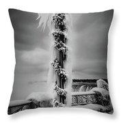 Frozen Over Niagara Falls Throw Pillow