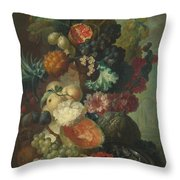 Fruit Flowers And A Fish Throw Pillow