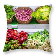 Fruits And Vegetables On A Supermarket Shelf Throw Pillow by Deyan Georgiev