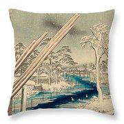 Fukagawa Lumberyards Throw Pillow