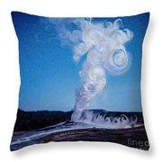 Full Moon And Old Faithful Throw Pillow