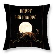 Full Moon Cat Throw Pillow