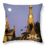 Full Moon In Burma Throw Pillow