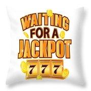 Gambler Waiting For A Jackpot 777 Gambling Fun Throw Pillow