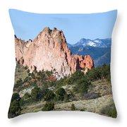 Garden Of The Gods Park In Colorado Springs In The Morning Throw Pillow