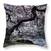 Garden View In Blue Throw Pillow