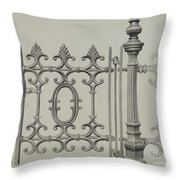 Gate And Gatepost Throw Pillow