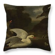 Geese And Ducks Throw Pillow