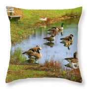 Geese Lake Fall  Throw Pillow