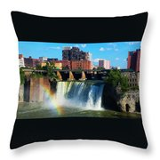 Genesee River Rainbow Throw Pillow