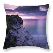 Georgian Bay Cliffs At Sunset Throw Pillow