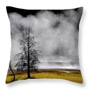 Geysers And Steam Rising In Yellowstone National Park Throw Pillow