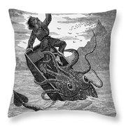 Giant Squid, 1879 Throw Pillow