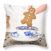 Gingerbread In Teacup Throw Pillow