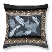 Ginko Leaves And Feathers Throw Pillow