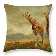 Giraffes In The Meadow Throw Pillow